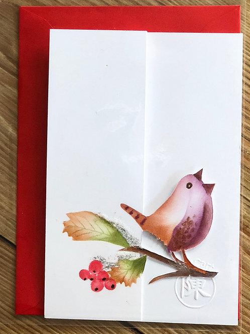 handgemaakte kaart inclusief rode envelop: winterkoning met glitters en 3D besje