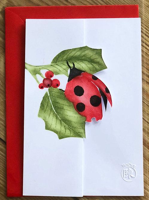 handgemaakte kaart inclusief rode envelop: lieveheersbeestje met 3D besjes