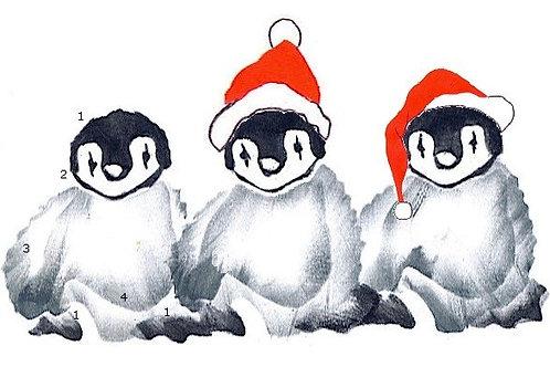 Kleine pinguin met 3d opplakmuts/sjaal