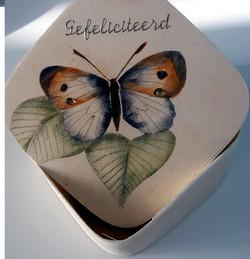 vlinder op houten doosje