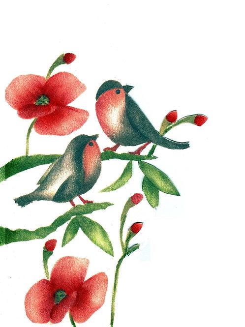 Combinatiepakket van de roodborsjes op een tak en de kleine klaproos