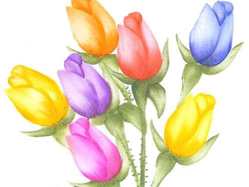 Combinatiepakket van een bos rozen met 3 kleuren knoppen