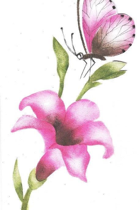 Combinatiepakket van de grote lelie en roze vlinder