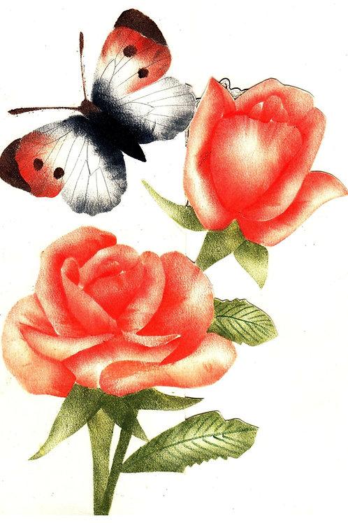 Combinatiepakket van de oranje vlinder, open roos en roos op een steel