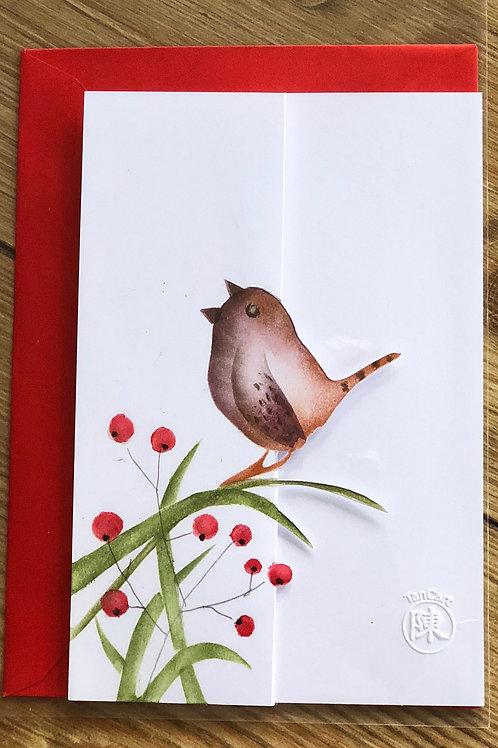 handgemaakte kaart inclusief rode envelop: winterkoning tak met 3D besjes