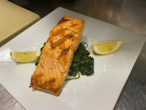 Grilled Salmon with sautéed spinach