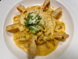 Shrimp Fettuccini in a creamy pink sauce