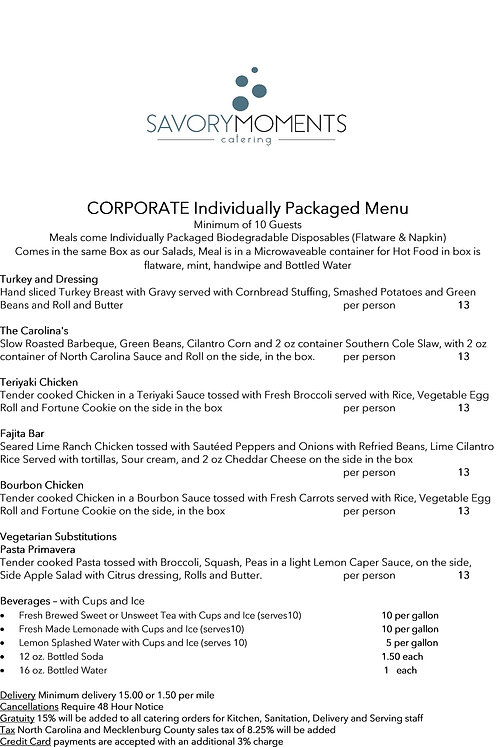 Corporate Buffet - Individually Packaged