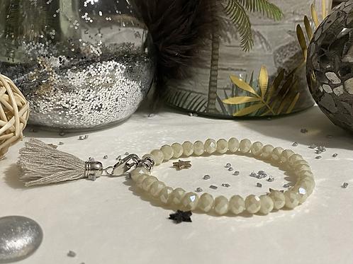 Bracelet Perles Facettes Beige