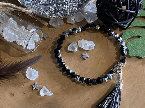 Bracelet perles Facettes Noir et Argent*
