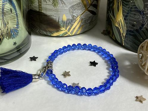 Bracelet perles Facettes Bleu roi