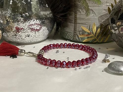 Bracelet Perles Facettes Rouge