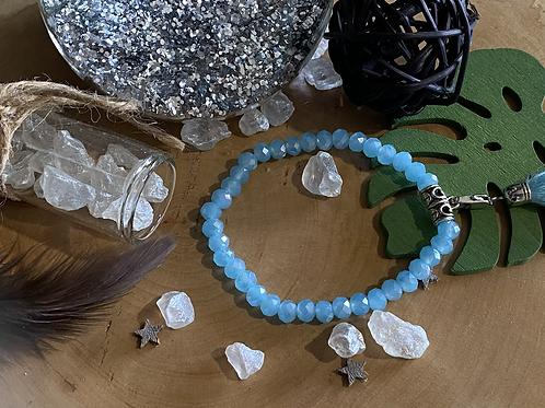 Bracelet perles Facettes bleu ciel *