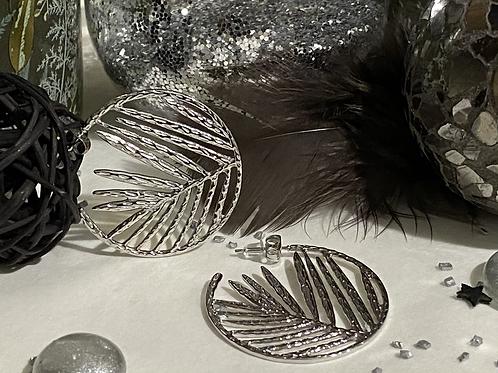 Boucles d'oreilles Feuille de palmier argent