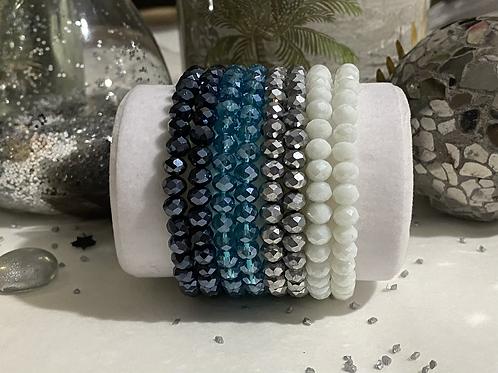 Bracelet Perles Facettes Bleu Nuit