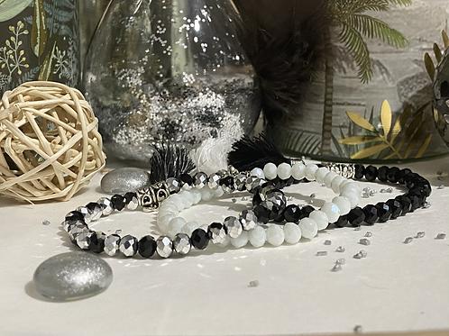 Bracelet Perles Facettes Blanc