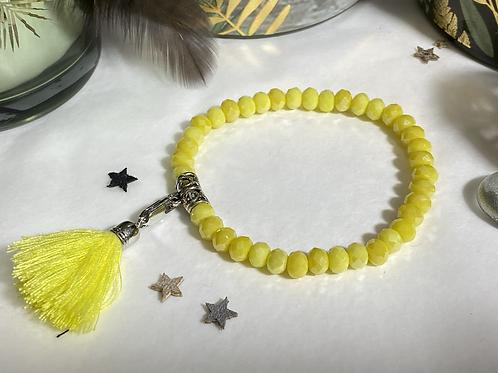 Bracelet perles Facettes Jaune