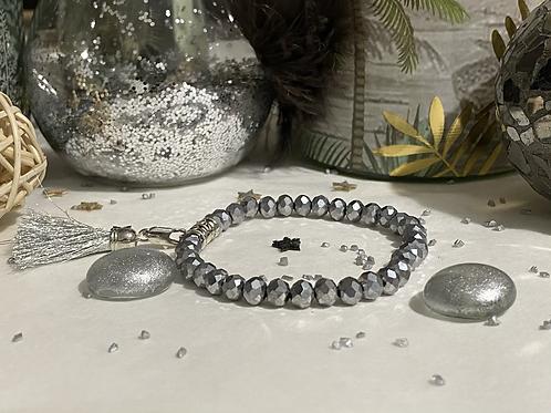 Bracelet Perles Facettes Argent