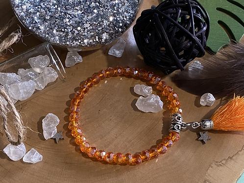 Bracelet perles Facettes Orange *