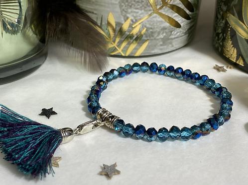 Bracelet perle Facettes Bleu marbré