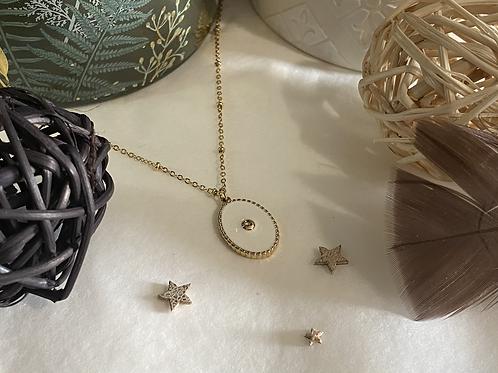 Collier Médaille Blanche et Or