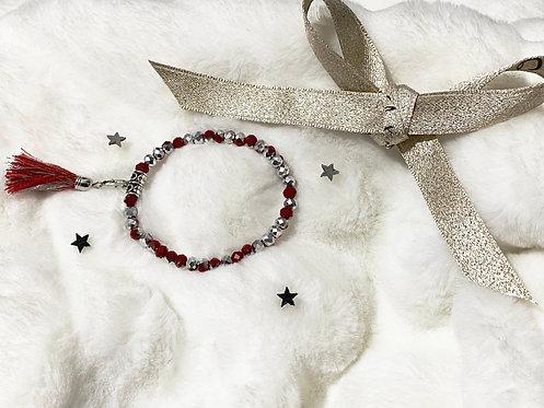 Bracelet perles Facettes Rouge et Argent