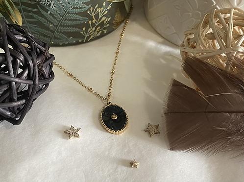 Collier Médaille Noire et Or