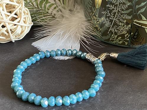 Bracelet perles Facettes Turquoise nacrée