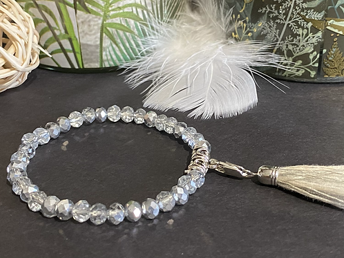Bracelet perles Facettes transparentes et argent