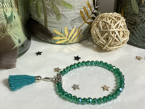 Bracelet perles Facettes Vert Emeraude