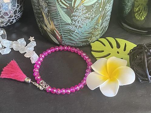 Bracelet perles Facettes Fushia