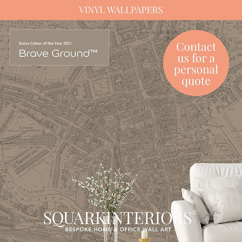 Colour Match Vintage Street Map Vinyl Wallpapers
