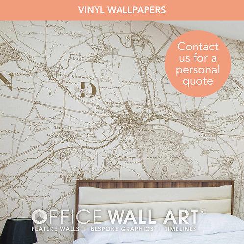 Vintage Colour Vintage Street Map Vinyl Wallpapers