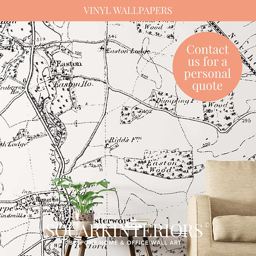 Monochrome Vintage Street Map Vinyl Wallpapers
