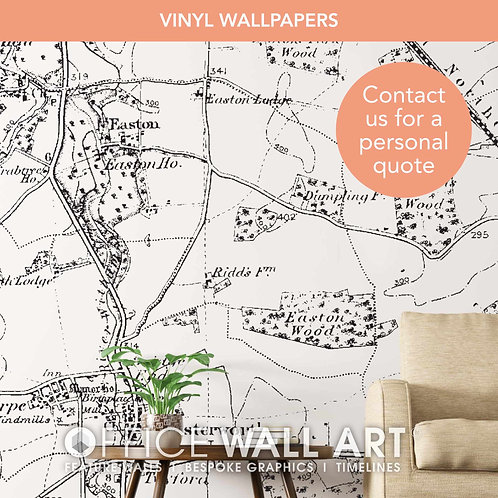 Monochrome Vintage Street Map Vinyl Wallpapers
