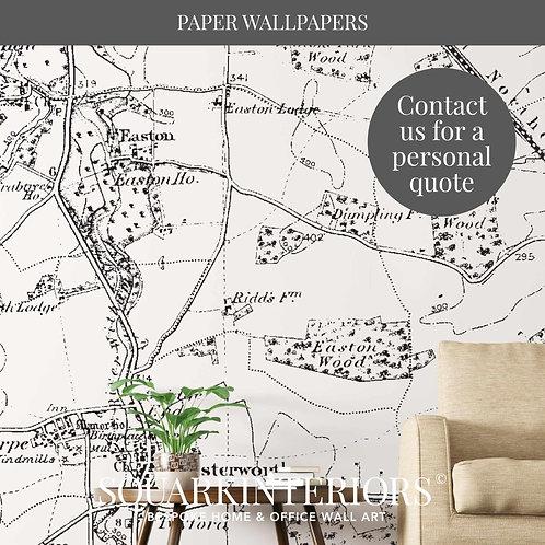 Monochrome Vintage Street Map Luxury Wallpapers
