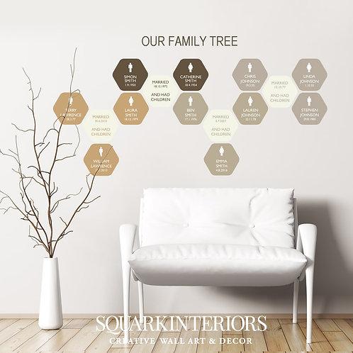 Family Tree Wall Vinyl - Hexagon