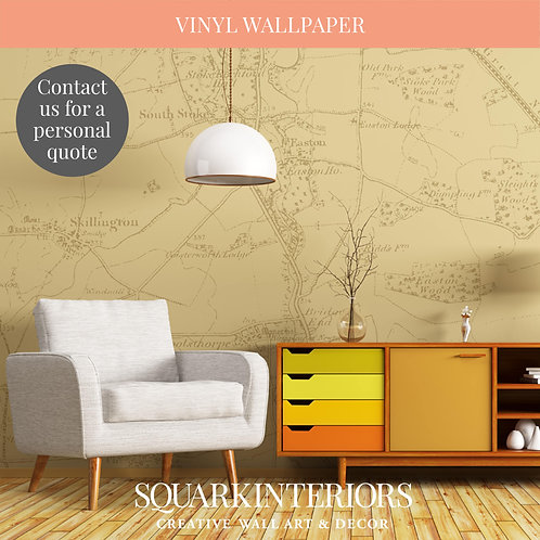 Vintage Colour Textured and Laminated Vintage Street Map Vinyl Wallpapers