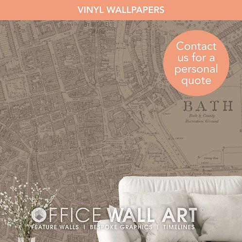 Colour Match Vintage Street Map Vinyl Wallpapers