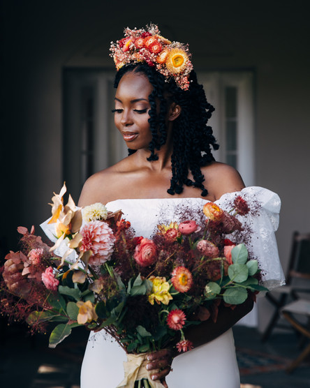 BriBride at Glynwood's Hudson Valley Farm with fall dried flower crown
