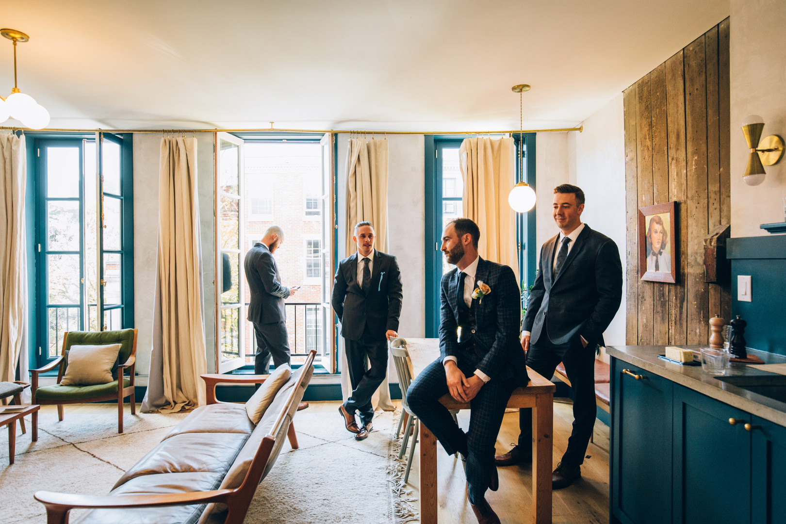Groomsmen candid at Lokal hotel, Philadelphia