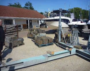 GALVANISED T FORM BOAT CRADLE USED ASSEMBLED