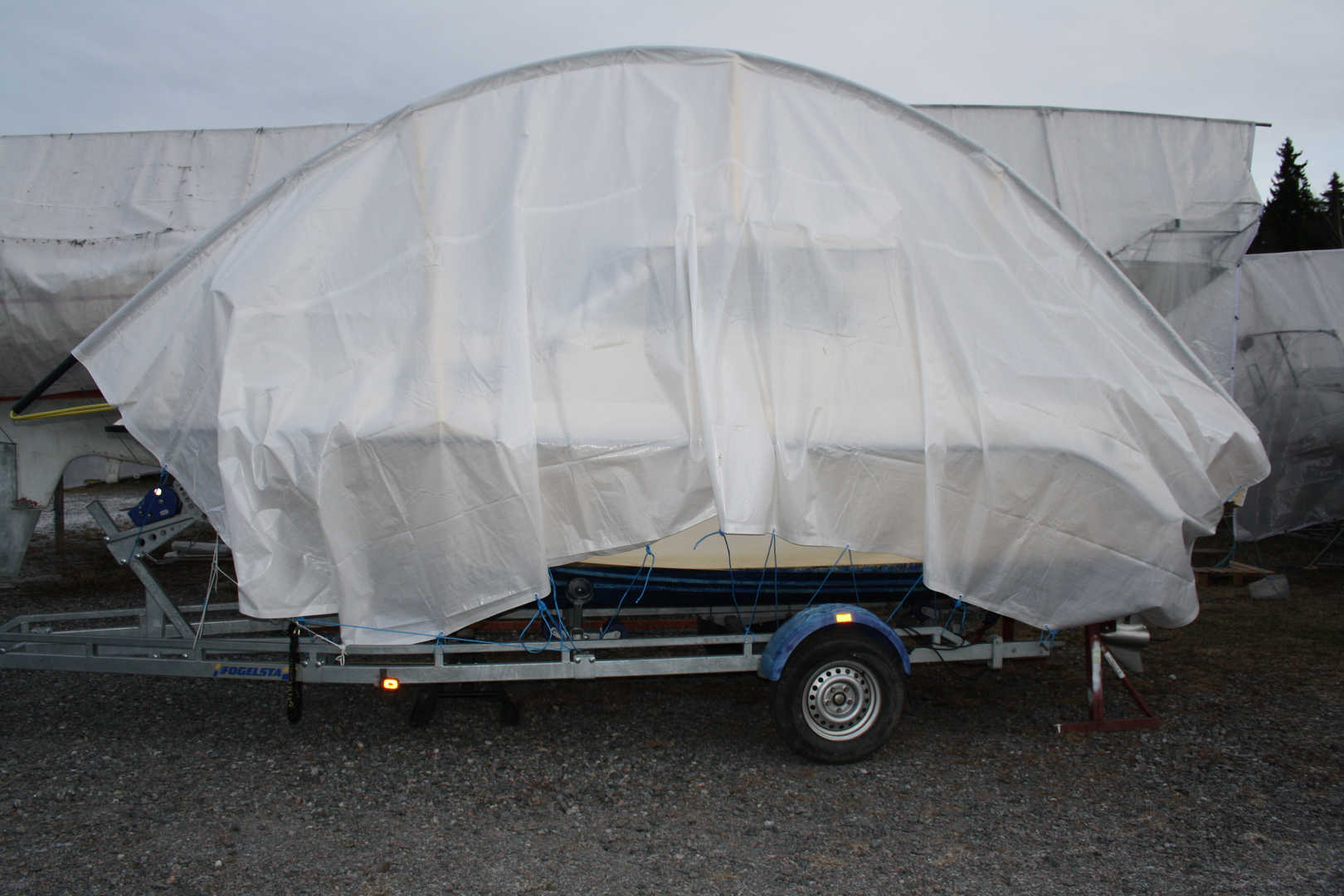 EASYTEC BOAT COVER ON TRAILER