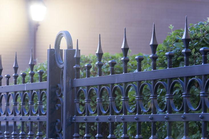 Metal fence with light under green.jpg
