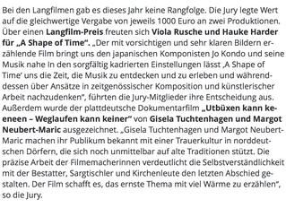 Dokumentarfilmpreis                                 20. Filmfests Schleswig-Holstein