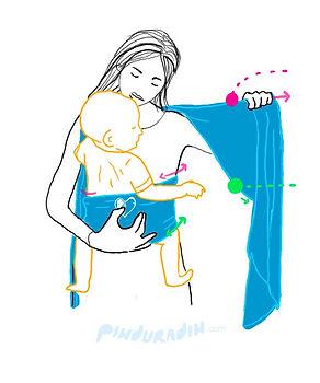 como amarrar um bebê no sling, passo a passo da amarração em x do sling wrap, sling para bebê, slings para bebês, pinduradin