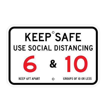 "Keep Safe Social Distancing 18""x12"" Horizontal - Metal Sign"