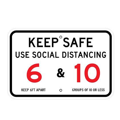 """Keep Safe Social Distancing 18""""x12"""" Horizontal - Metal Sign"""