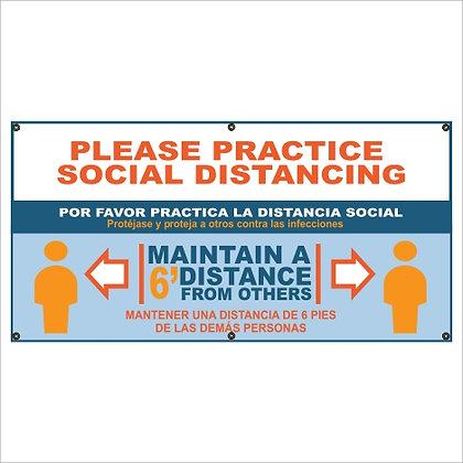 Practice Social Distancing Blue Banner