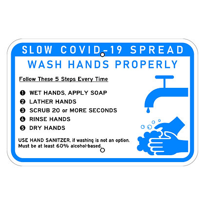 "COVID-19 Hand Washing 18""x12"" Horizontal - Metal Sign"